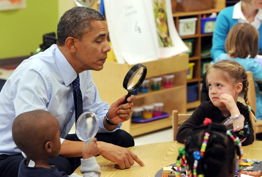 Президент Barack Obama в начальной школе