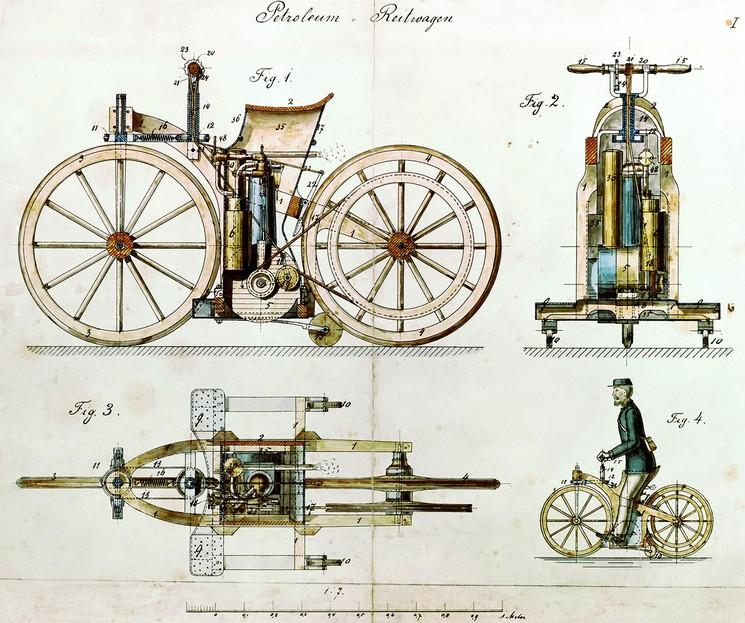 Патент на первый в мире мотоцикл