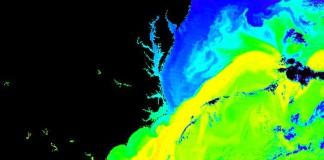 Тепловая карта Гольфстрима в районе Бермудского треугольника
