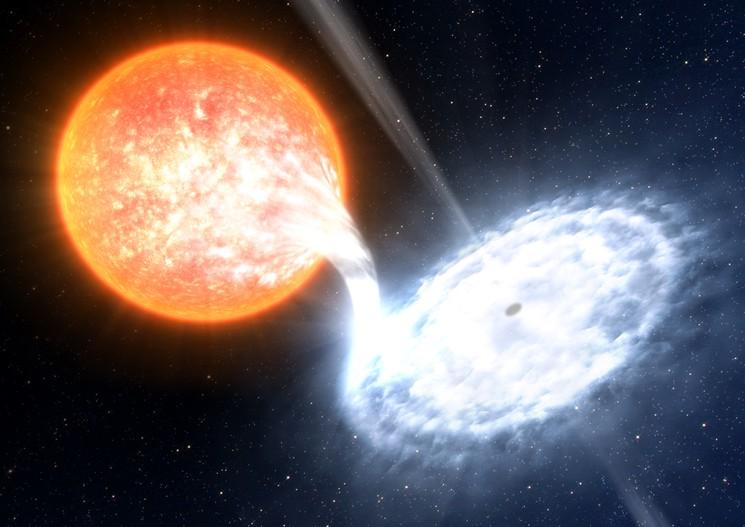Черная дыра поглащает зведку огромного размера