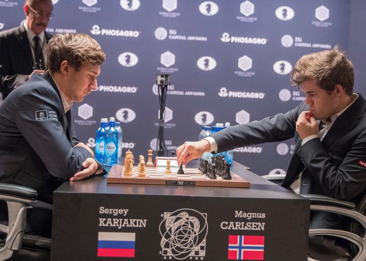 первенство мира по шахматам между Магнусом Карлсеном и Сергеем Карякиным