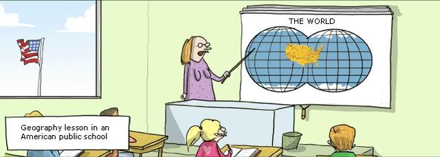 Урок географии в американской школе, карикатура