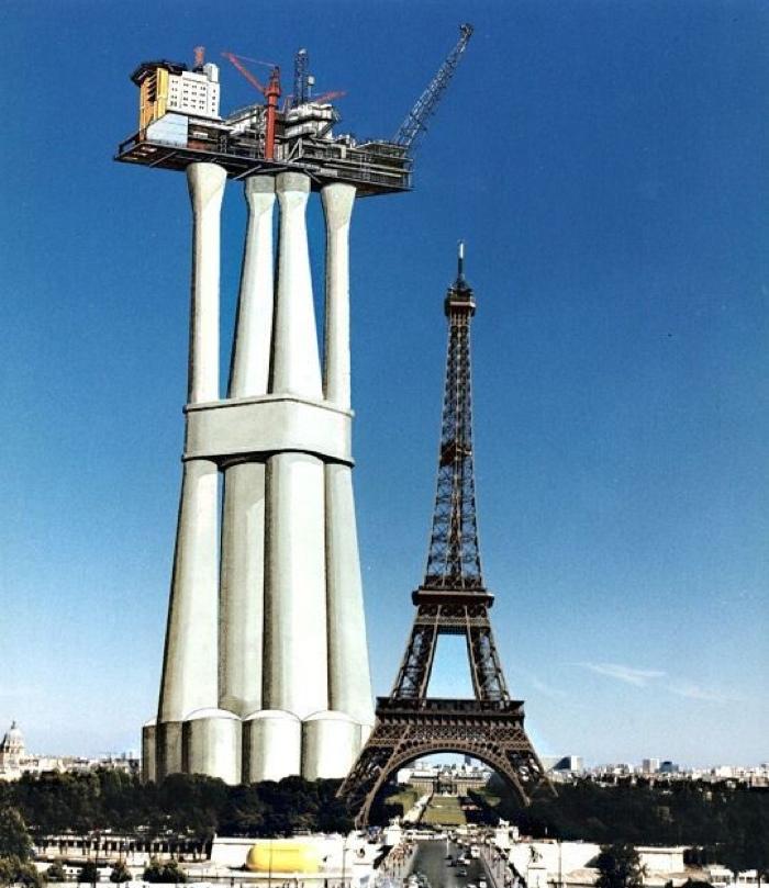 Сравнение морской платформы Troll с Эйфелевой башней