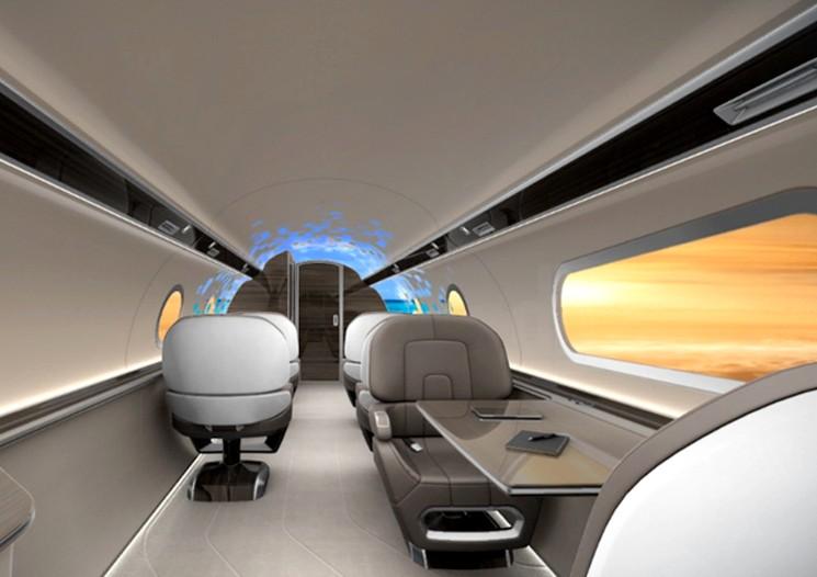 Концепт самолета IXION в котором иллюминаторы заменены мониторами
