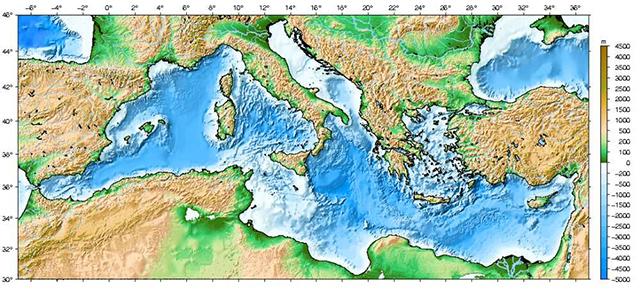 карта глубин Средиземного моря