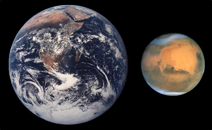 Сравнение планеты Марс с Землёй