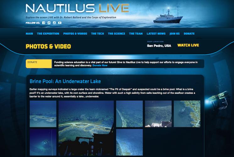съемки мертвого озера на дне Мексиканского залива с подводного корабля E/V Nautilus