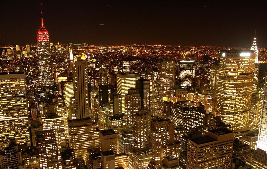 Нью-Йорк - фото ночного мегаполиса