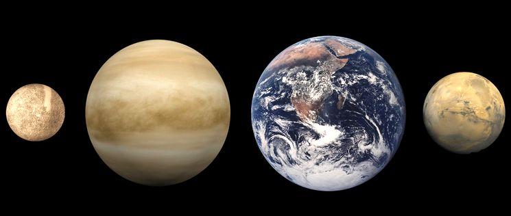 Сравнение планет -  Меркурий, Венера, Земля и Марс