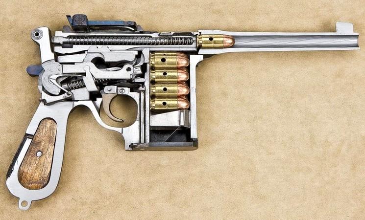 Пистолет Маузер в разрезе