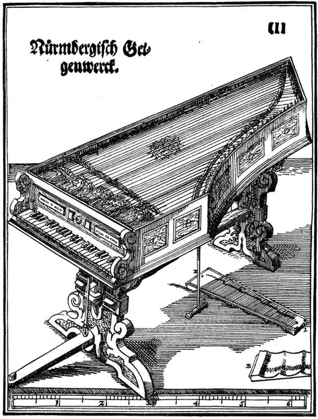 Старинная гравюра с изображением гайгенверка Ганса Гайдна