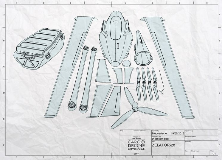 Детали грузового беспилотника Zelator 28