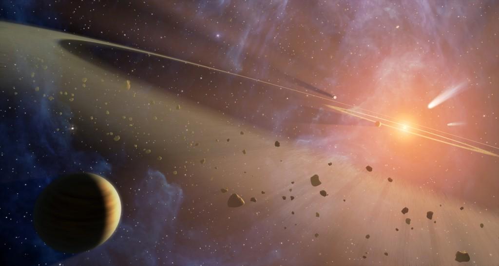 Пояс астероидов в представлении художника. В реальности небесные камни редко собираются в столь тесные группы — их разделяют сотни тысяч километров.