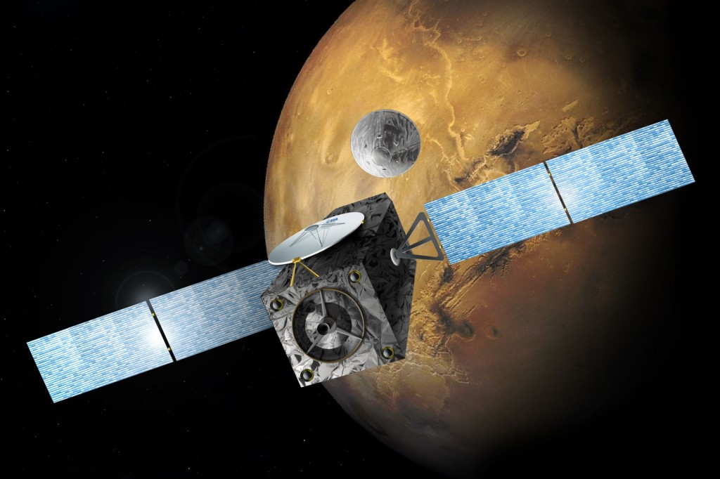 Аппарат ЭкзоМарс Trace Gas Orbiter на орбите Марса в представлении художника