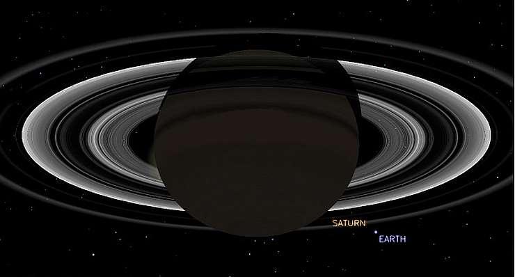 Компьютерная симуляция положения Сатурна в момент снимка