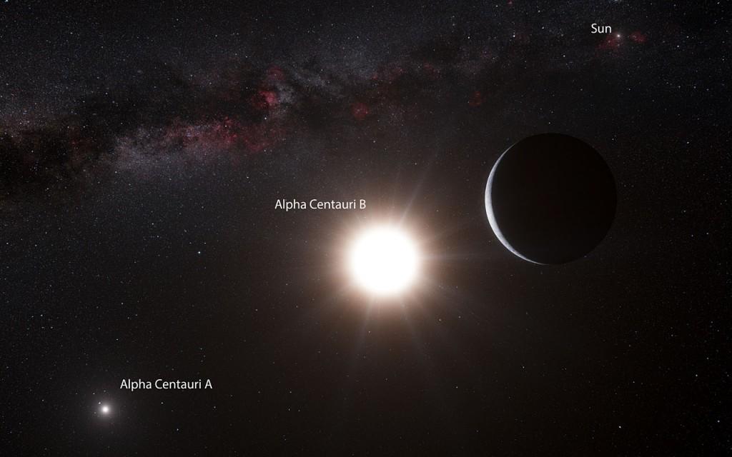 Планета альфа Центавра В, в представлении художника