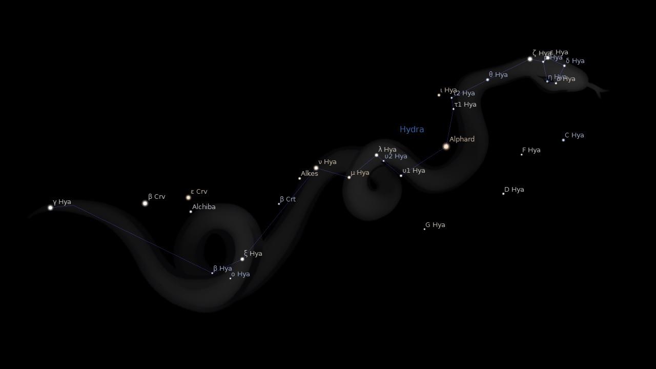 Альфард и созвездие Гидры