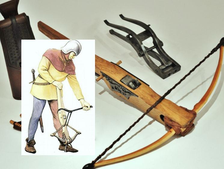 Арбалет с механизмом заряжания козья нога