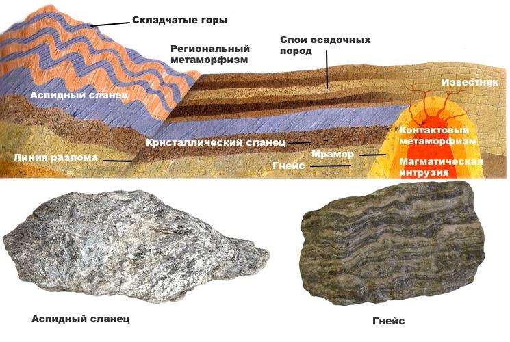 Диаграмма формирования различных типов метаморфизма