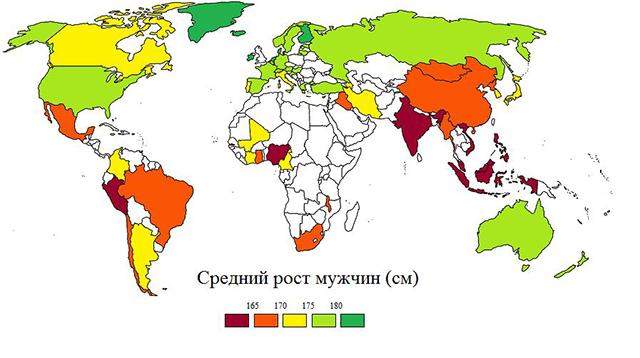 Средний рост мужчик на карте мира