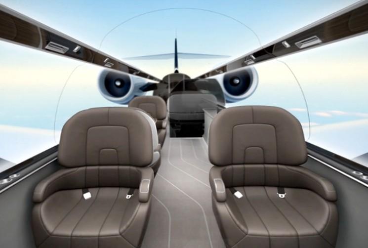 IXION Jet - самолет концепт с панорамными мониторами внутри