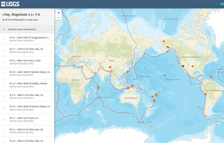 Карта землетрясений онлайн