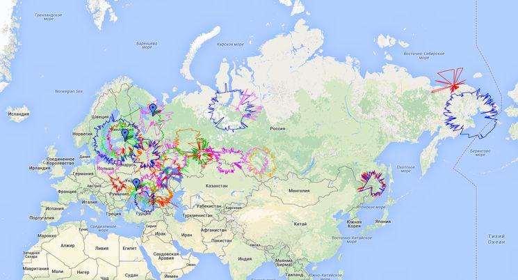 Карта радаров отслеживания полетов