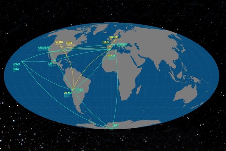 Расположение сети телескопов на Земле