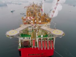 Плавучая платформа Prelude по добычи газа