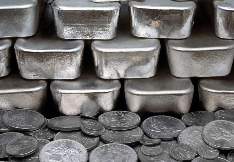 Серебро в слитках и монетах
