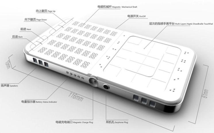 Сенсорный смартфон для слепых на базе шрифта Брайля - Shikun Sun