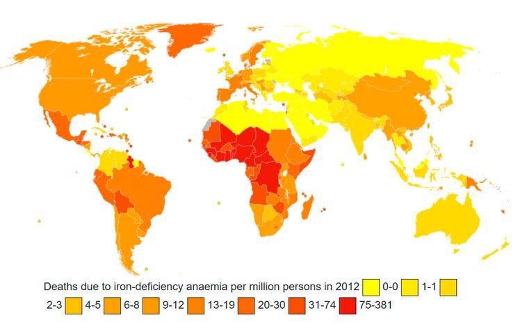 Смертность из-за железодефицитной анемии на Земле