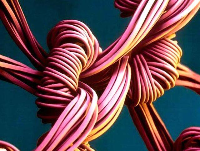 Волокна нейлона под большим увеличением