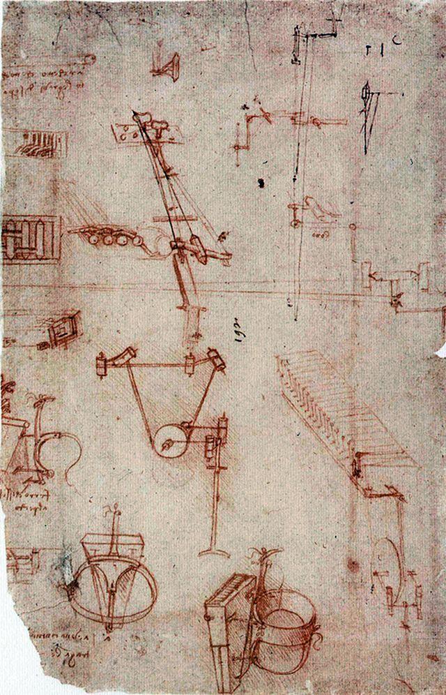 Страница рукописи Леонардо да Винчи с набросками