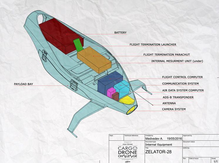 Компоновка грузового беспилотника Zelator 28